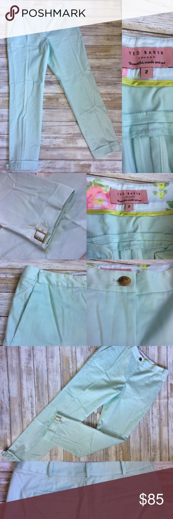 "Ted Baker London stretch mint green pants excellent condition women's Ted Baker pants in size 2 (8) Mint green stretch cuffed  Measurements are taken laid flat  Waist across 15.5"" Inseam 28"" Comes from smoke and pet free home  Thank you for looking Ted Baker London Pants Trousers"