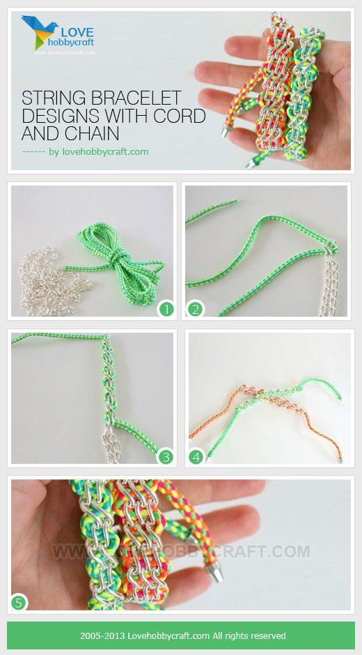 String bracelet designs with cord and chain