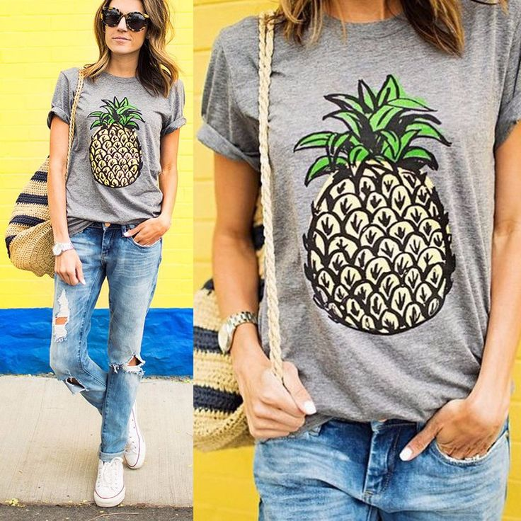 This soft cotton tee shirt is a must have for summer! A tropical, trendy and colorful pineapple graphic adorns one of our fave neutral colored tees. Easy pairs with jeans or shorts for a cool, casual