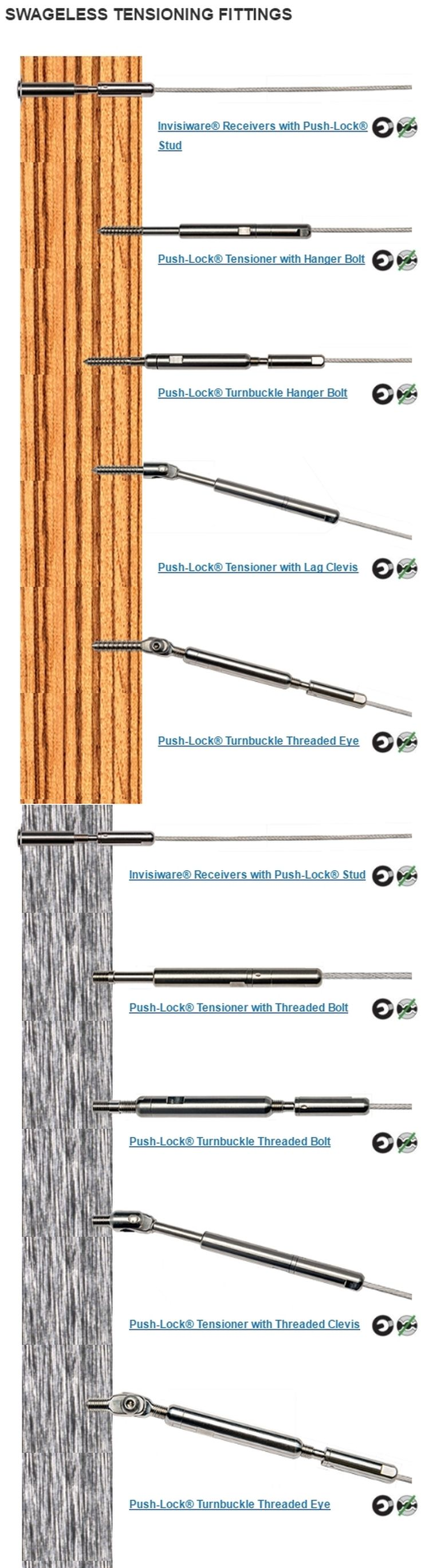 Swageless Ultra-tec® Cable Railing tensioning fittings for wood and metal posts.