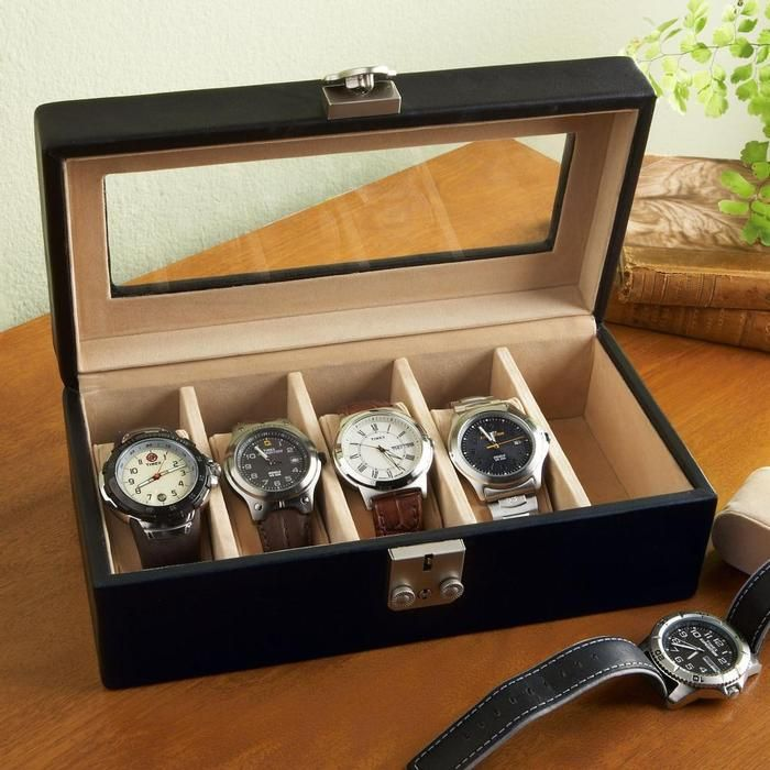Leather watch box adds a personal touch to any watch collection.