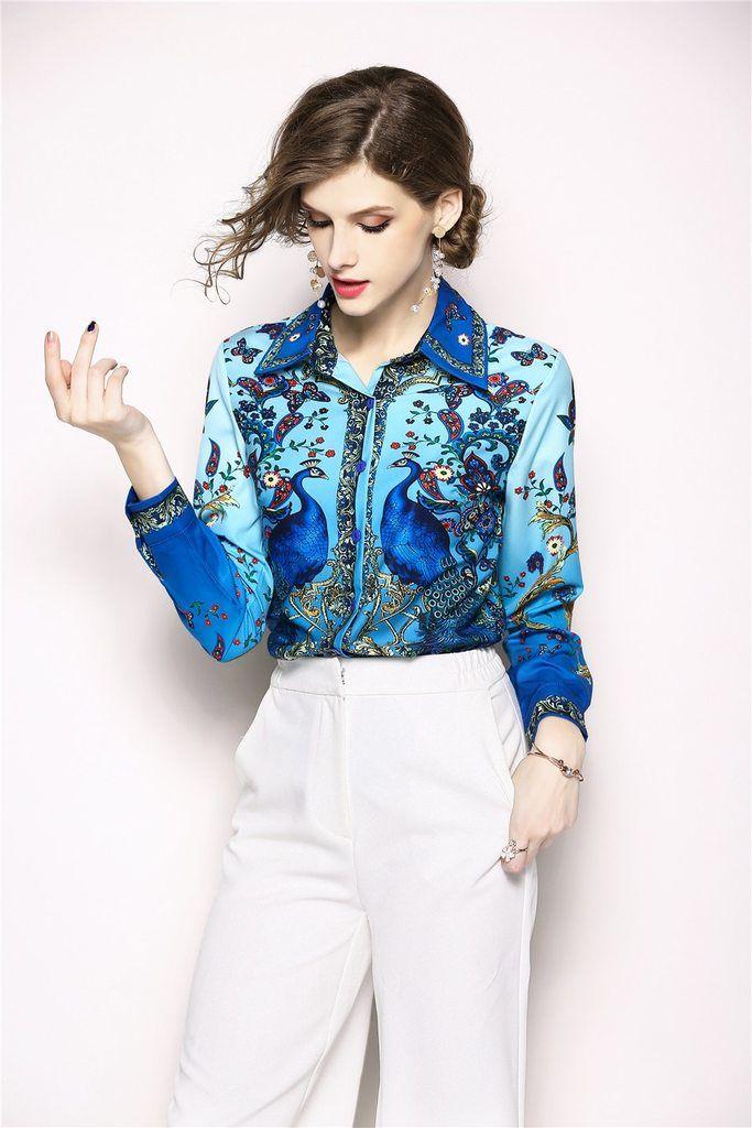 2eb8293523e Luxury Print Vintage Long Sleeve Shirt Women Blouses Runway Designer Tops  Ladies Office Shirts Blusas Mujer De Moda 2018-JetSet-JetSet