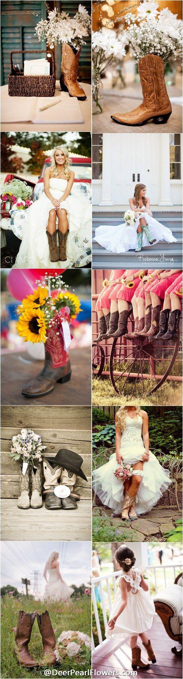 rustic country cowboy cowgirl wedding ideas / http://www.deerpearlflowers.com/cowgirl-boots-fall-wedding-ideas/