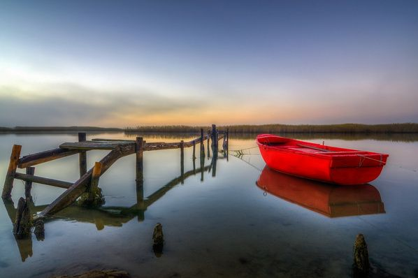 Red On The Water - Low-tide on the Berg River in Velddriff, South Africa ~ Photo by...Wessel Badenhorst©
