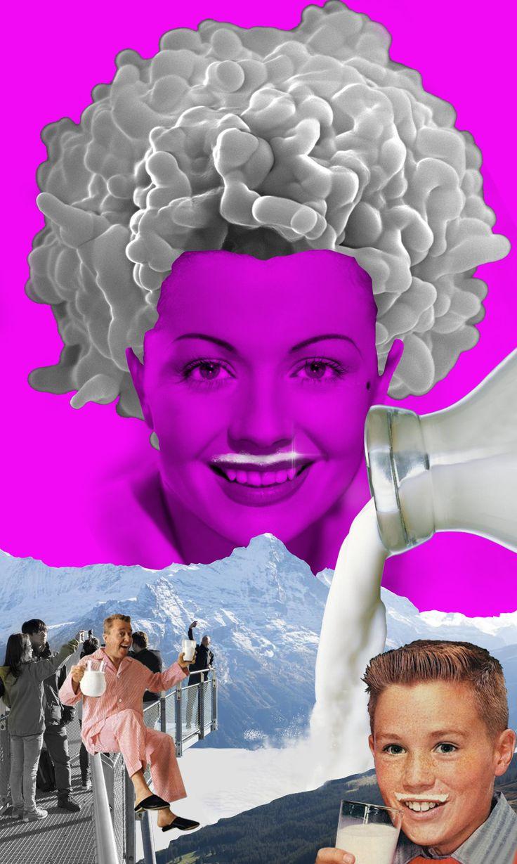 'Mmmilky love', vintage collage by Annette von Stahl