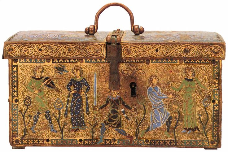 vivalundinproductions:  Casket with Scenes of Courtly Love  c. 1180 Champlevé enamel British Museum