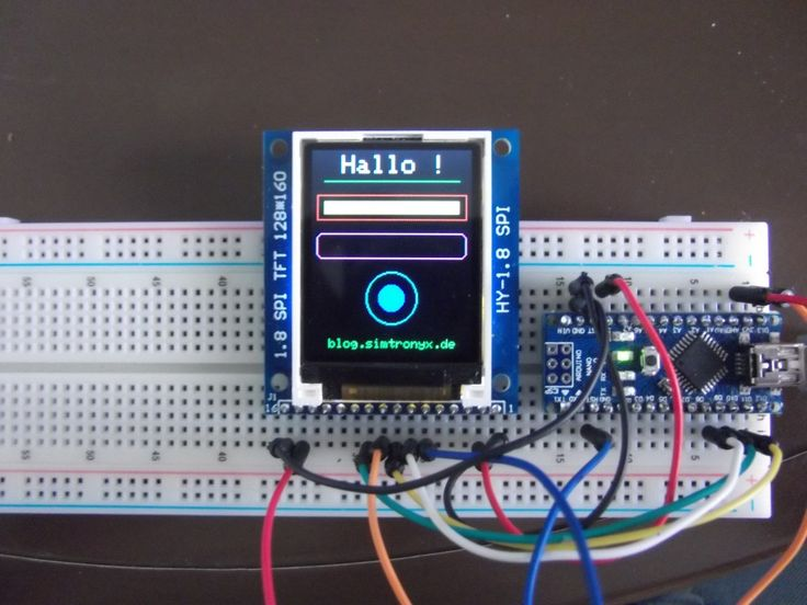 A 1.8 inch TFT color display (HY-1.8 SPI) and an Arduino