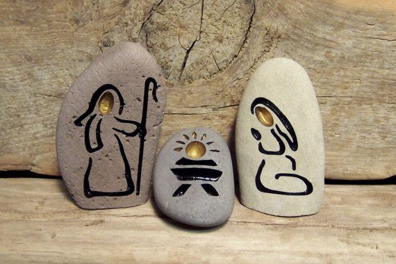 STONE NATIVITY SET  Engraved Natural Rock by SandStudios on Etsy, $35.00