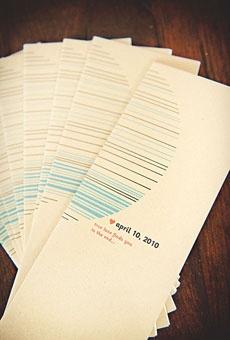 Modern wedding programs designed by a recent bride. Photo by JL Photografia (Janet Moscarello & Lisa Lefringhouse)