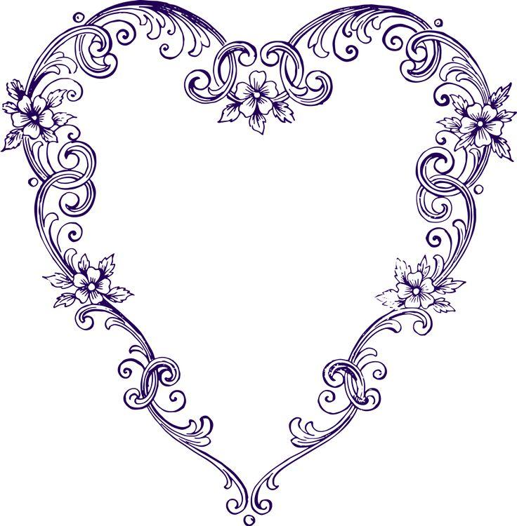 Free Images - Fancy Vintage Purple Heart Clip Art
