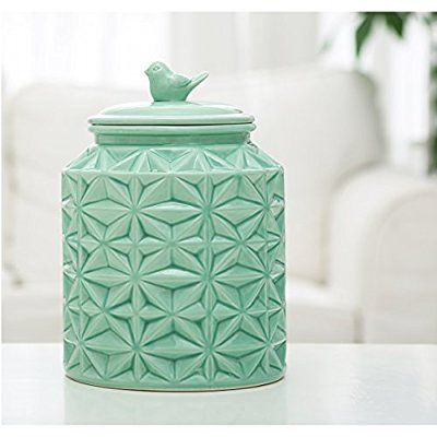 Turquoise Vintage Ceramic Kitchen Flour Canister / Cookie Jar w/ Abstract Star Design & Bird Topped Lid