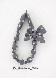 collier bouel tissu étoile gris réduit