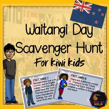 Waitangi Day Scavenger Hunt for New Zealand Classrooms. NEW TO TPT FOR 2016Are you looking for an activity that explains the Treaty of Waitangi in an accessible and engaging way for Primary Students? This resource is designed for years 4-8.A series of fact cards are placed around the room and students 'hunt' for the answer and write it on their worksheet.