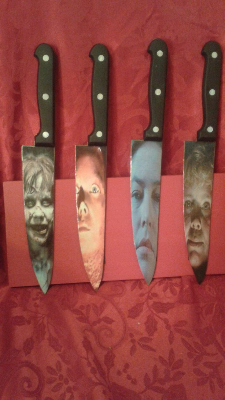 Regan,Carrie,Annie,Pamela Voorhees inspired horror knives.  These are 12 inch total length and 7 inch blade. These are made on a real stainless steel knife. Creation of Zombies Plus.