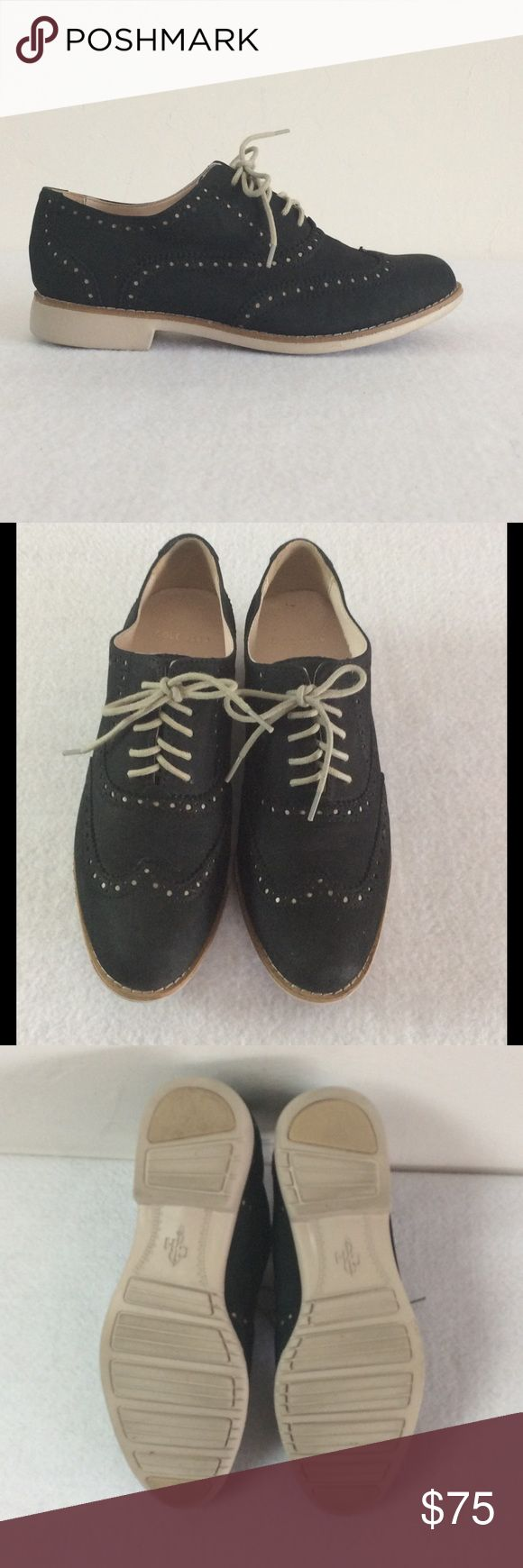 Cole Haan Oxford Shoes Cole Haan Outlet Gramercy Wing Oxford Shoes in very good condition.  Details:  *Size 5.5B *Color:  Black Newbuck Twine *Soft Newbuck leather upper *Fully lined *Fully padded sock lining *Lightweight EVA light outsole.  Slight scratch on left shoe inner heel.  #colehaan Cole Haan Shoes Flats & Loafers