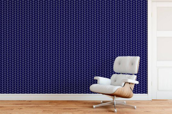 Deep Blue Herringbone Wallpaper Herringbone Wallpaper Peel And Stick Wallpaper Wall Decor Reusab Herringbone Wallpaper Navy Wallpaper Dark Blue Wallpaper