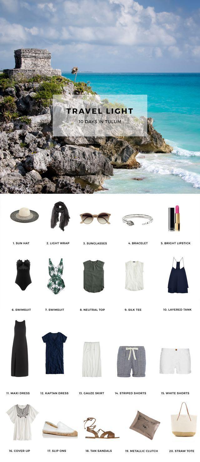 1. Sun Hat / 2. Light Wrap / 3. Sunglasses / 4. Bracelet / 5. Bright Lipstick / 6. Swimsuit / 7. Swimsuit / 8. Neutral Top / 9. Silk Tee / 10. Layered Tank / 11. Maxi Dress / 12. Kaftan Dress / 13. Ga