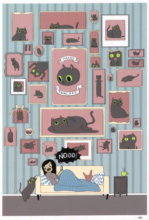 NatazillaPancakes Pancakes, Funny Humor, Art, Natasha Allegri, Crazy Cat, Cat Lovers, Black Cat, Double Punch, Cat Lady