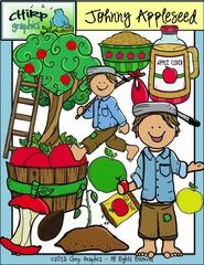 Win a Johnny Appleseed Clip Art Set! - This cute set contains a total of 38 images - 12 blackline, 12 black and white, and 14 colour.  Images include Johnny Appleseed in two different poses, apples, apple barrels, seeds, trees, apple cider, and much more!  Enter to win!  .  A GIVEAWAY promotion for Johnny Appleseed Apple Clip Art Set - Chirp Graphics from Chirp Graphics on TeachersNotebook.com (ends on 6-8-2015)