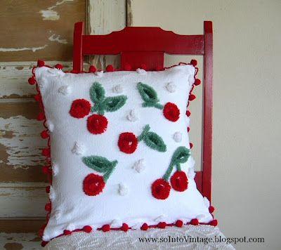 Cute chenille cherry pillow: Chenil Cherries, Vintage Paintings, Cheeri Cherries, Cherries Pillows, Sweet Cherries, Chenille Cherries, Red Chairs, Throw Pillows, Chenille Pillows