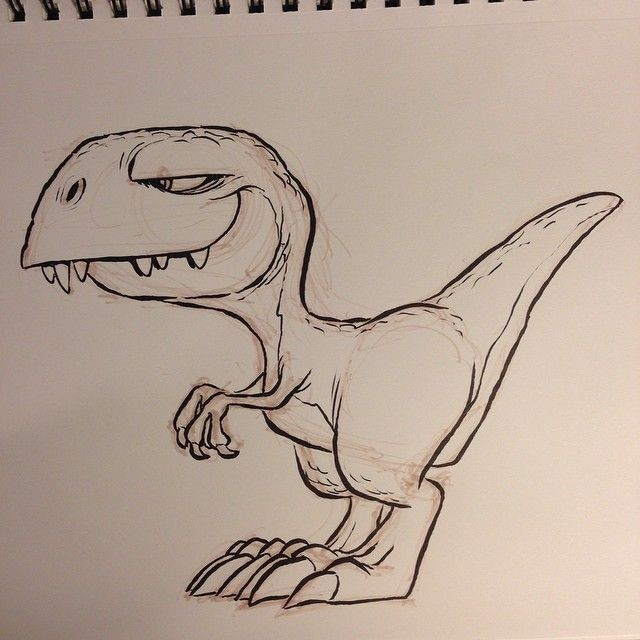 how to draw a cute cartoon dinosaur