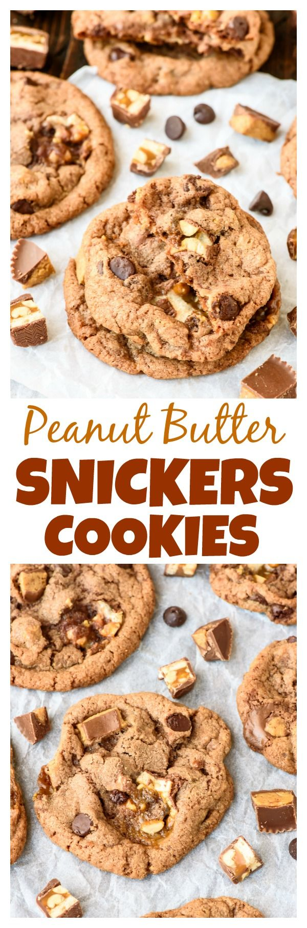 Use your Halloween candy to make Soft and Chewy Peanut Butter Snickers Cookies! PERFECT soft, chewy cookies loaded with Snickers bars, Reeses peanut butter cups, and chocolate chips. Even better than a candy bar!