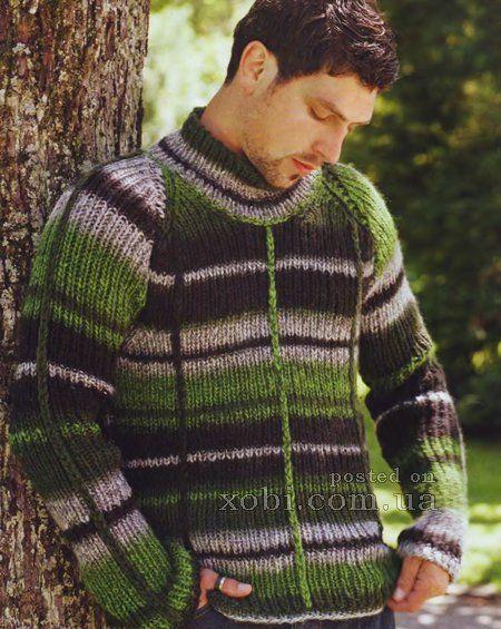 мужской зелено-черный свитер