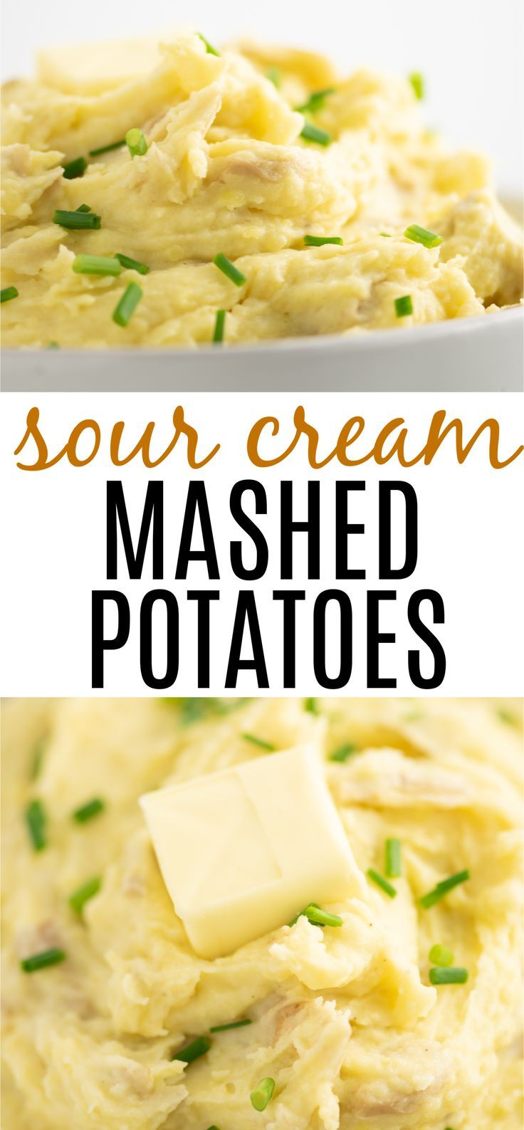 Fluffy Buttery Delicious Mashed Potatoes Made With Sour Cream A Thanksgiving Must Have Ma Sour Cream Mashed Potatoes Sour Cream Mashed Easy Potato Recipes