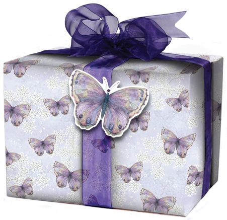Inspired by the matching greeting card, our Purple Butterfly Giftwrap adds a beautiful finish to your gifts. Buy any wrap and tag for £1.75, organza ribbon £3.75 each, shop now: www.redcards.co.uk