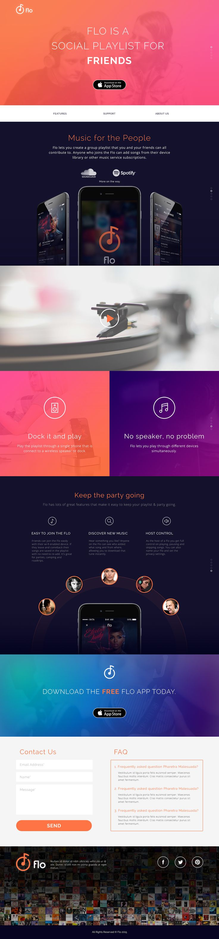 Flo Music App marketing site design on Behance