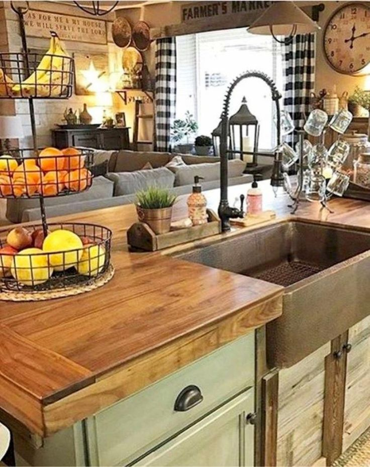 66 cool rustic kitchen sink farmhouse style decor ideas - Country style kitchen cabinets design ...