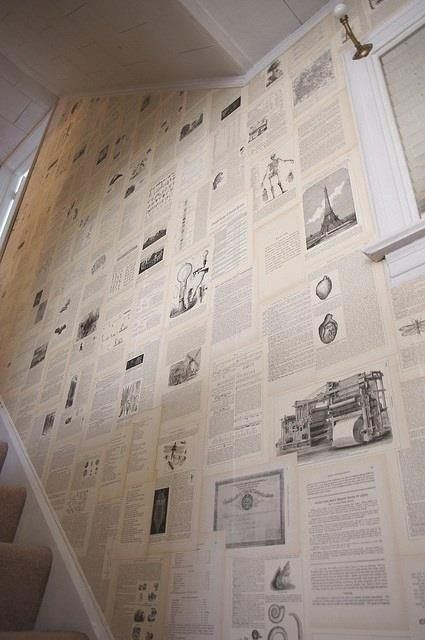 Old Encyclopaedia Pages As Wallpaper! Educational and Beautiful Decor!! Dream house clever idea