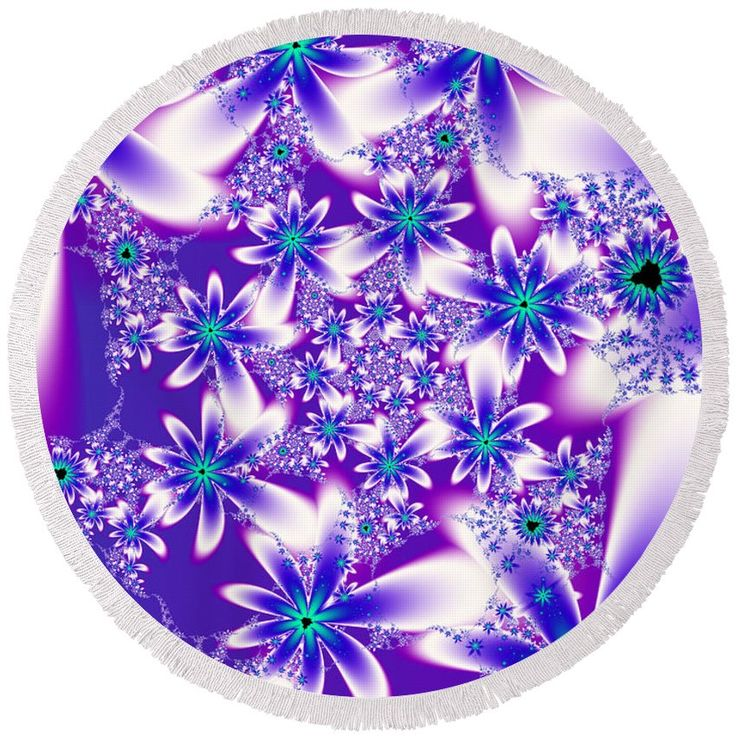 Round fractal beach towel. Fractal design created by Tracey Lee Art Designs.