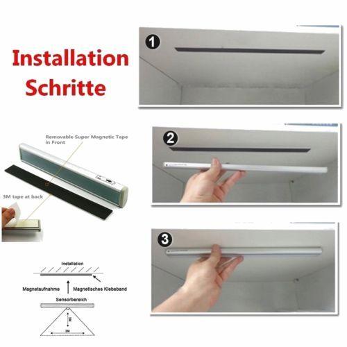 5x Unterbau Leuchte Licht Leiste Küche Schrank LED mit Bewegungsmelder Batterie