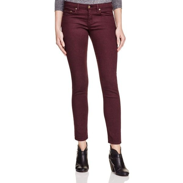 rag & bone/JEAN The Dre Skinny Jeans in Dark Maroon ($198) ❤ liked on Polyvore featuring jeans, aged wine, denim skinny jeans, checkered skinny jeans, purple skinny jeans, stretchy skinny jeans and stretch jeans