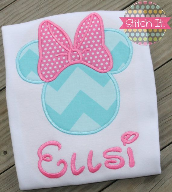 Minnie Mouse personalized appliqued shirt  by stitchitboutique, $22.00  This lady does an AMAZING job on these shirts!!!