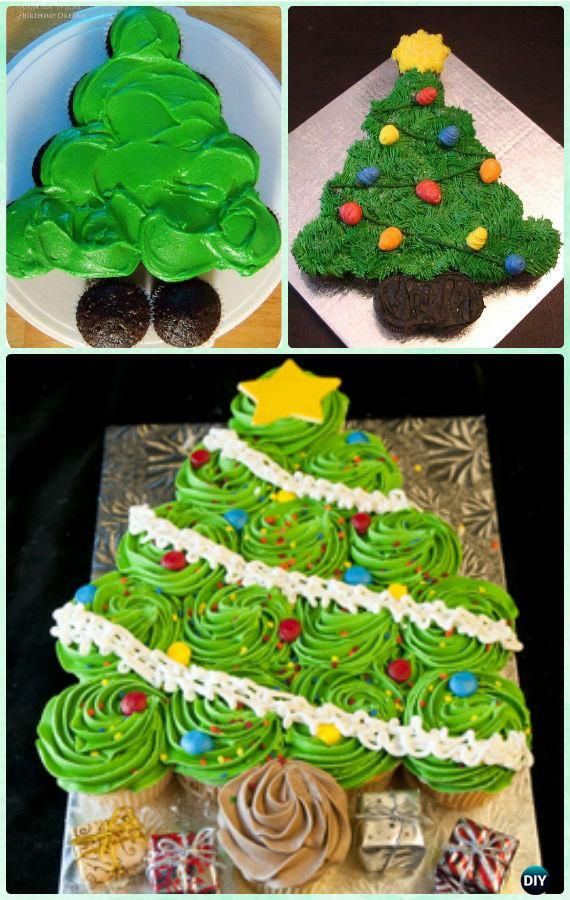 DIY Flat Christmas Tree Pull Apart Cupcake Cake Instruction Tutorial -DIY Pull Apart Christmas Cupcake Cake Design Ideas