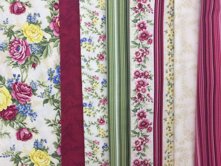 """""""VICTORIAN SPLENDOR"""" BY RO GREGG NORTHCOTT. CABBAGE ROSES, SMALL FLORALFLOWERS WITH TRAILING VINES, TONE ON TONE BLENDERS IN CREAM AND BURGUNDY, STRIPES IN GREENS AND BURGUNDY/PINKS. THERE IS ALSO A FLORAL STRIPE. 