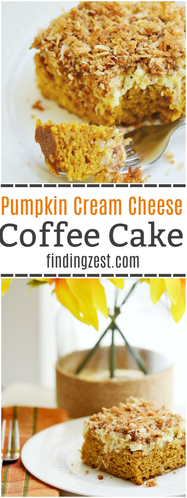 This homemade Pumpkin Cream Cheese Coffee Cake is a great brunch or breakfast for fall, including Thanksgiving! Serve it up with some fresh coffee!