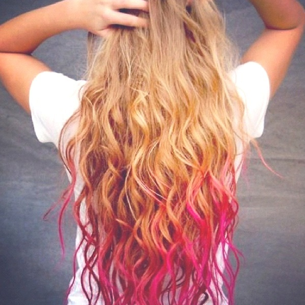 dip dye hair from dirty blonde to pink hair pinterest