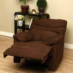 Tucker Cocoa Recliner ◾Materials: Foam, metal, microfiber, Asian pine hardwood Upholstery materials: Microfiber Upholstery color: Cocoa Seat height is 17-inches Dimensions: 38 inches high x 38 inches wide x 37 inches deep
