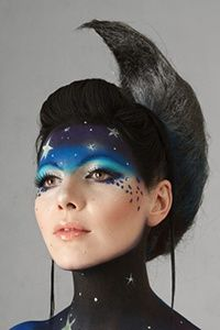 star & moon face paint - adult face paintIce Queen, Night Sky Costume, Face Painted Mask, Face Paint Adult, Face Painting Adult, Body Painting, Makeup Ideas, Facepaint Ideas, Facepaint Mask