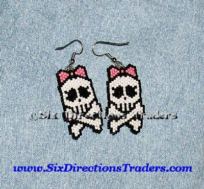 """One pair ~ Lady Jolly Rodger Pirate Flag ~ (Monster  High)Skull & Crossbones - Halloween Spirit         Beaded Picture Earring ~ Done in fine Delica Seed Beads, 1 1/2""""                   To Err is"""