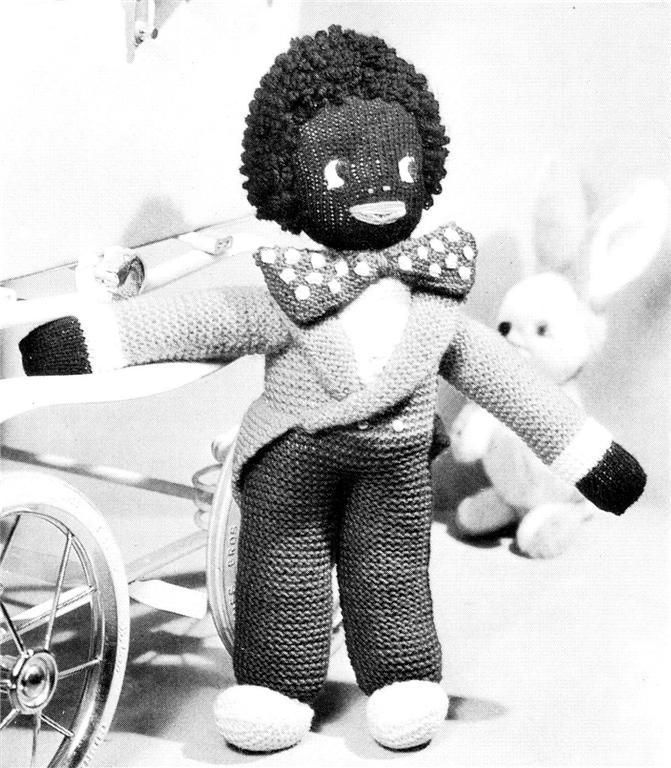 "VINTAGE GOLLIWOG / GOLLY  17"" - 8ply or D.K. - toy knitting pattern picclick.com"