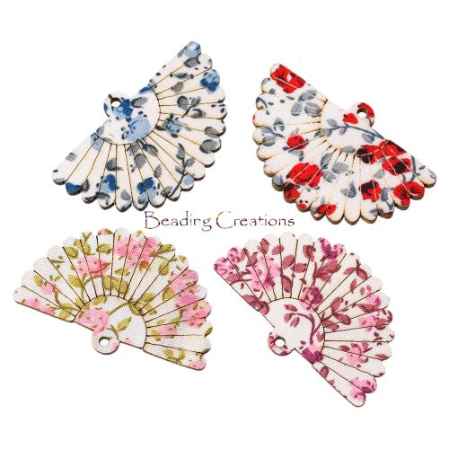 PENDANTS - WOODEN - FAN - FLORAL - RANDOMLY MIXED - 4.9x3.1cm  Available at the following link: http://www.bidorbuy.co.za/seller/366992/Beadingcreations