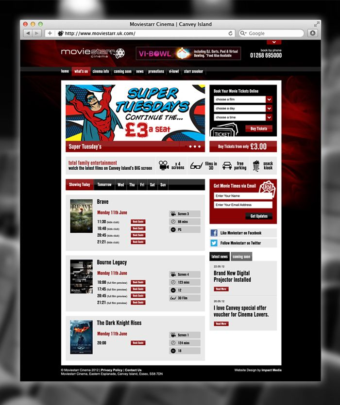 Moviestarr bespoke wordpress site built to integrate with Moviestarr's existing online booking system.