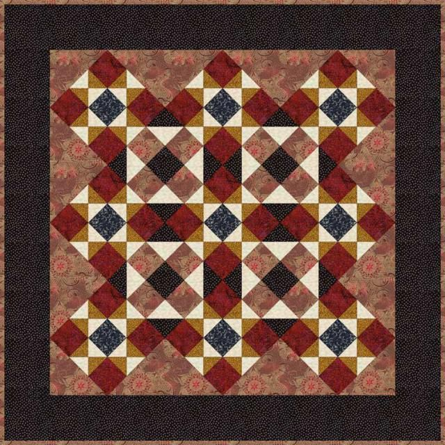 "Our Ohio Star quilt pattern features quilt blocks sewn in color value variations that make the design look a bit different from the norm. Take a look...Finished Block Size: 9"" x 9""..Finished Quilt: About 48"" x 48"""