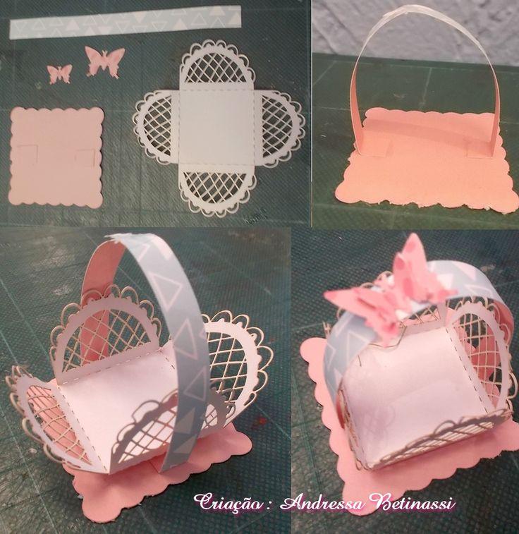 Cestinha com borboleta , forminha para doces rendada ScrapWay