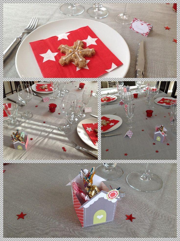 Ma table pour le réveillon 2013: étoiles, sucres d'orges et mélange de rouge et gris