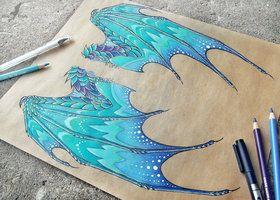 Dragon of a winter sunrise - wings by AlviaAlcedo
